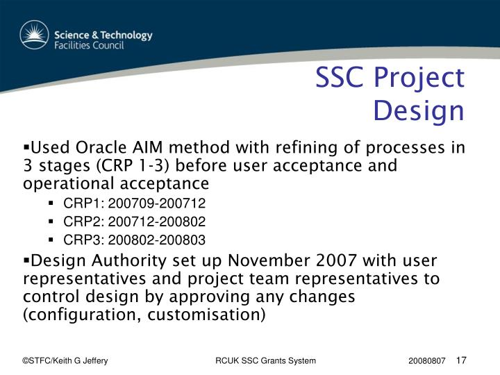 SSC Project Design
