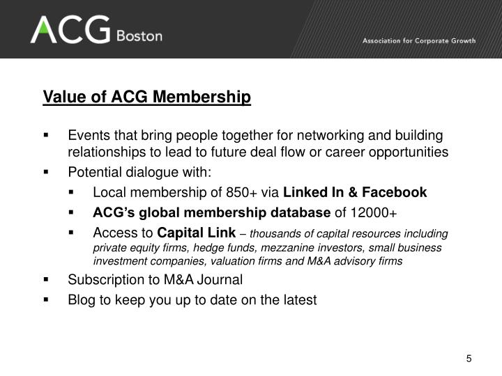 Value of ACG Membership