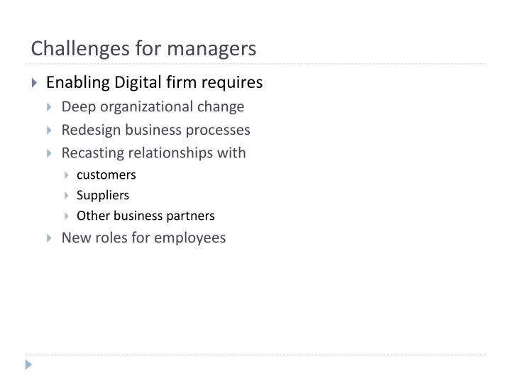 Challenges for managers