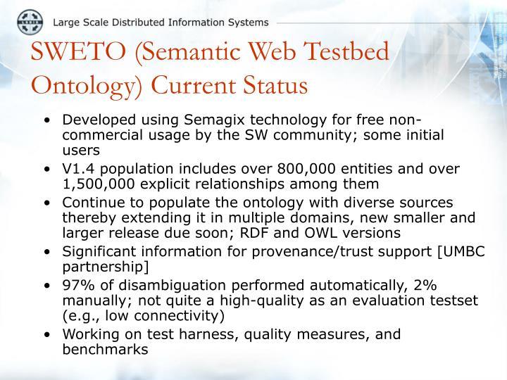 SWETO (Semantic Web Testbed Ontology) Current Status
