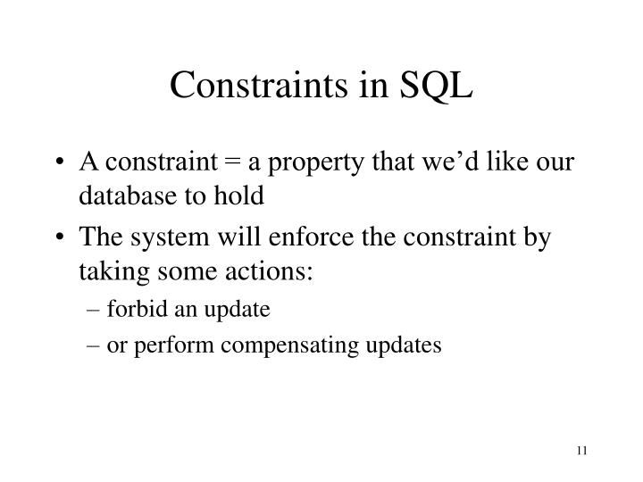 Constraints in SQL