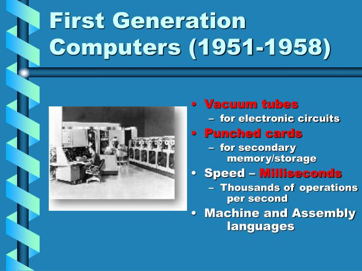 First Generation Computers (1951-1958)
