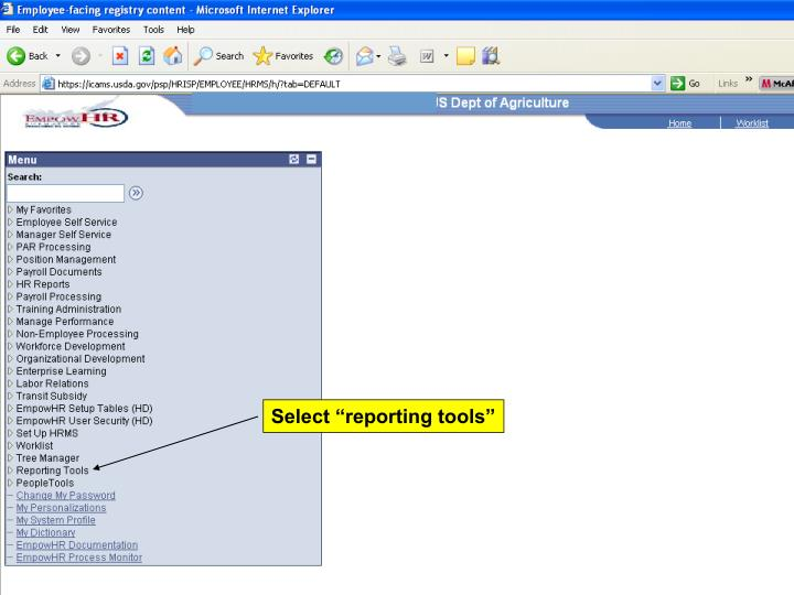 "Select ""reporting tools"""