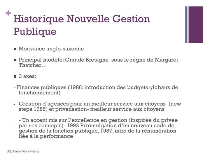 Historique Nouvelle Gestion Publique