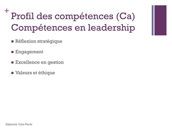 Profil des compétences (Ca)