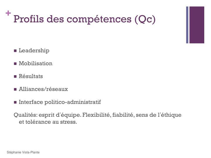 Profils des compétences (Qc)