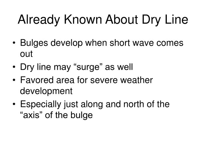 Already known about dry line