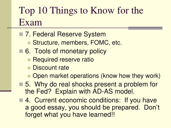 Top 10 things to know for the exam