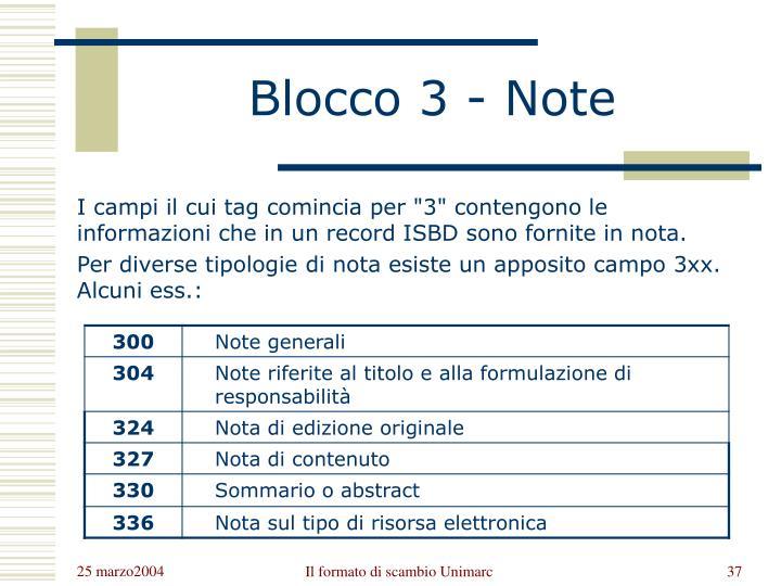 Blocco 3 - Note