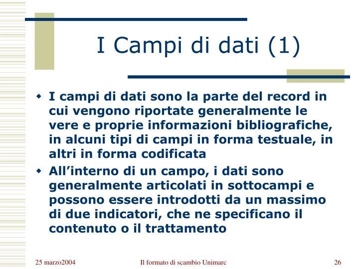 I Campi di dati (1)