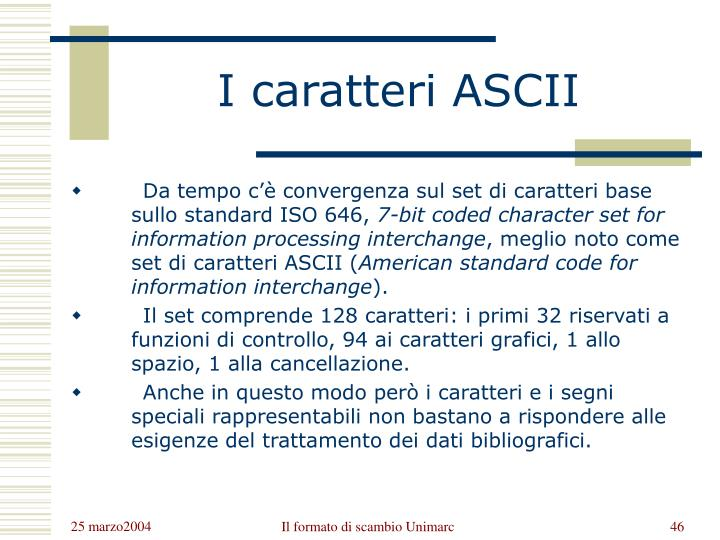 I caratteri ASCII