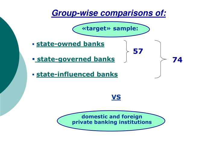 Group-wise comparisons of: