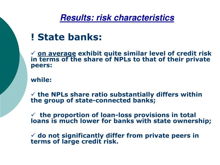 Results: risk characteristics