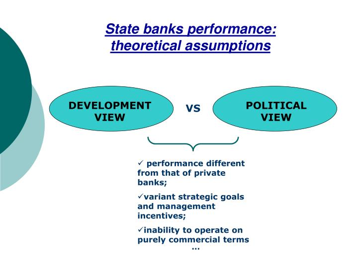 State banks performance: theoretical assumptions