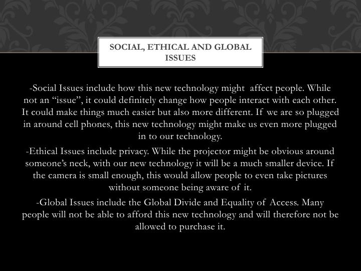 Social, ethical and global issues