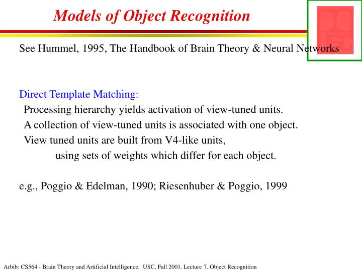 Models of Object Recognition