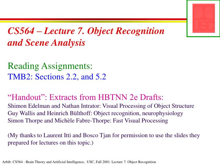 CS564 – Lecture 7. Object Recognition