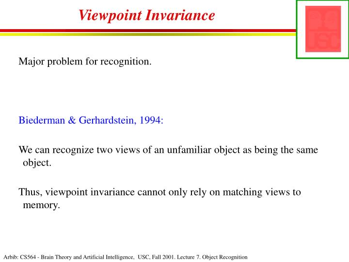 Viewpoint Invariance