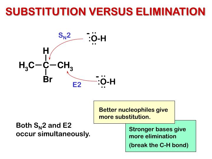 competetive nucleophiles As a general rule, nucleophile substitution reactions that involve powerful nucleophiles tend to occur with s n 2 mechanisms in biological chemistry.