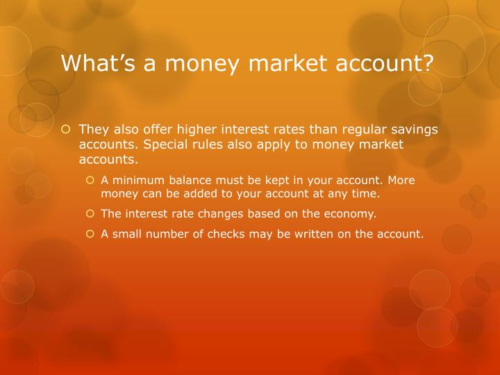 What's a money market account?