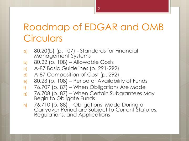 Roadmap of edgar and omb circulars