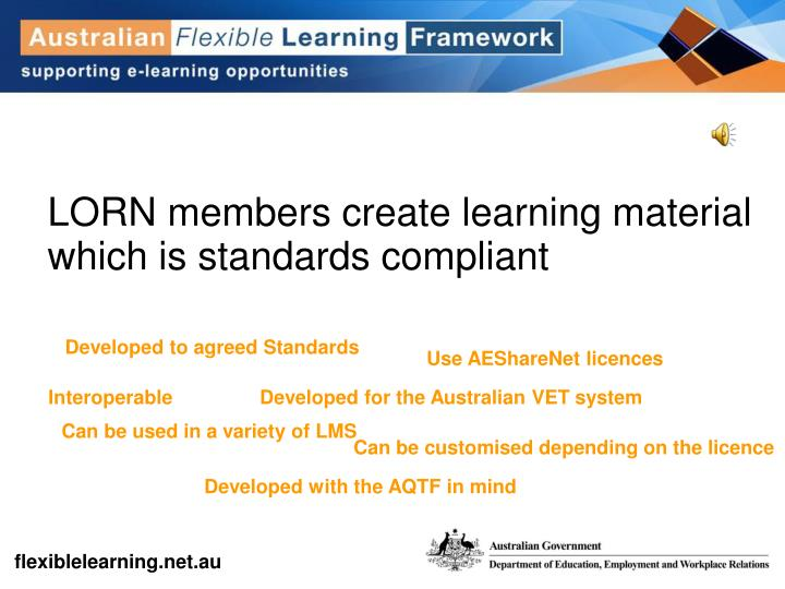 LORN members create learning material which is standards compliant