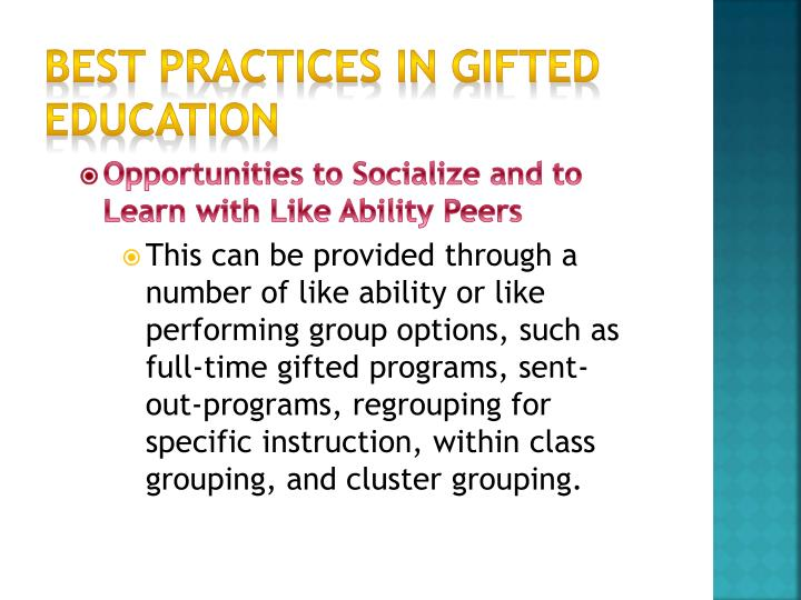 Best Practices in Gifted Education
