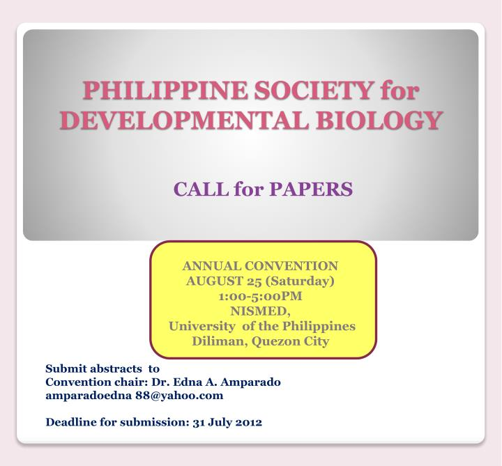 Philippine society for developmental biology