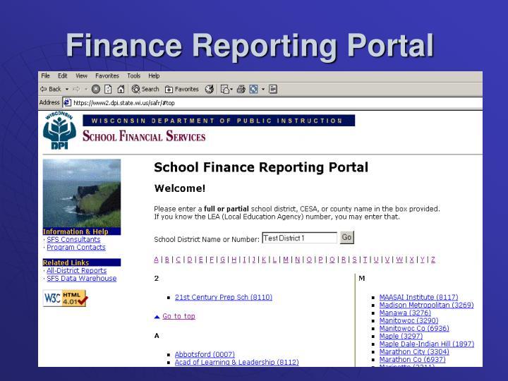 Finance Reporting Portal