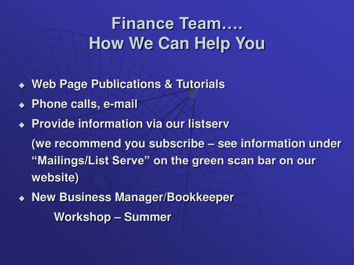 Finance Team….