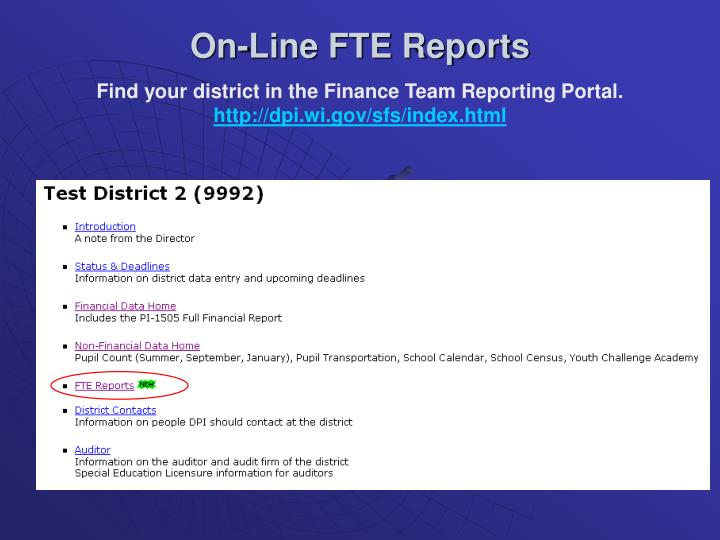 On-Line FTE Reports