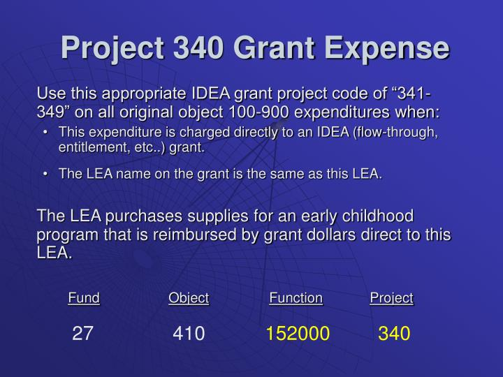 Project 340 Grant Expense