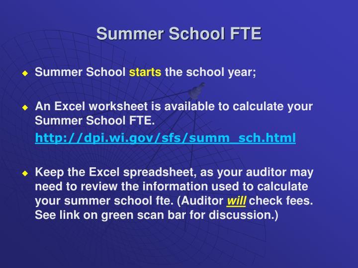 Summer School FTE