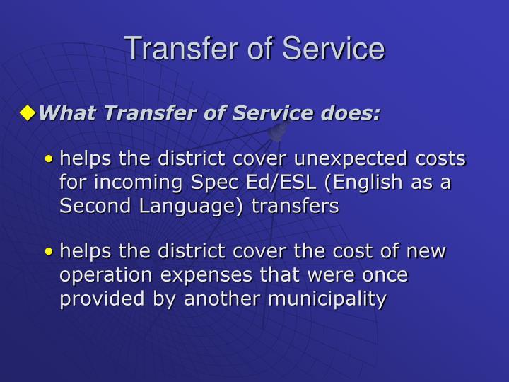 Transfer of Service