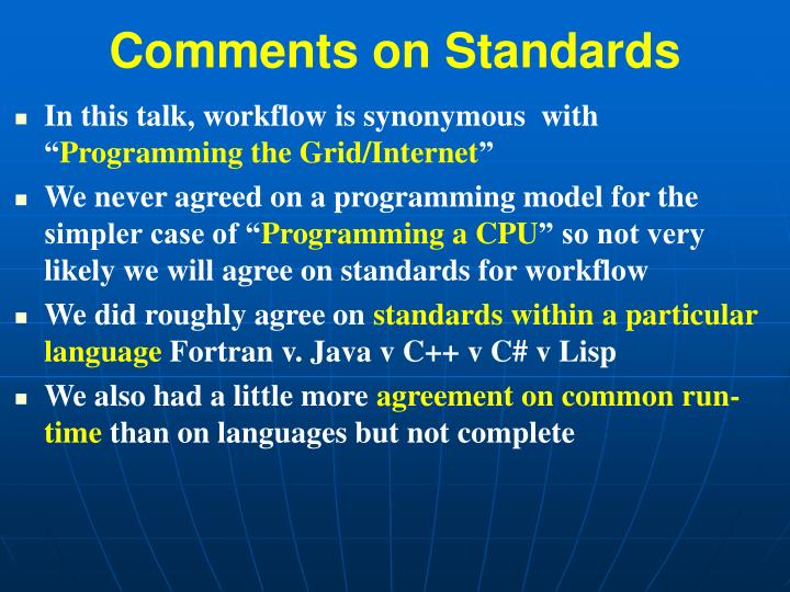 Comments on standards