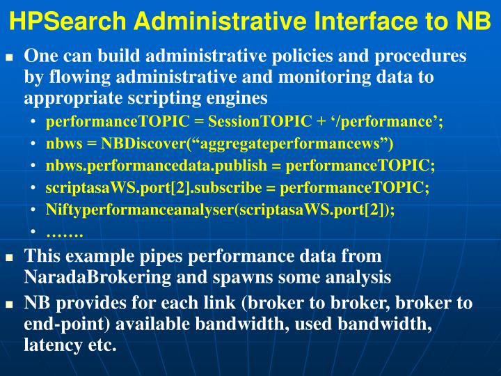 HPSearch Administrative Interface to NB