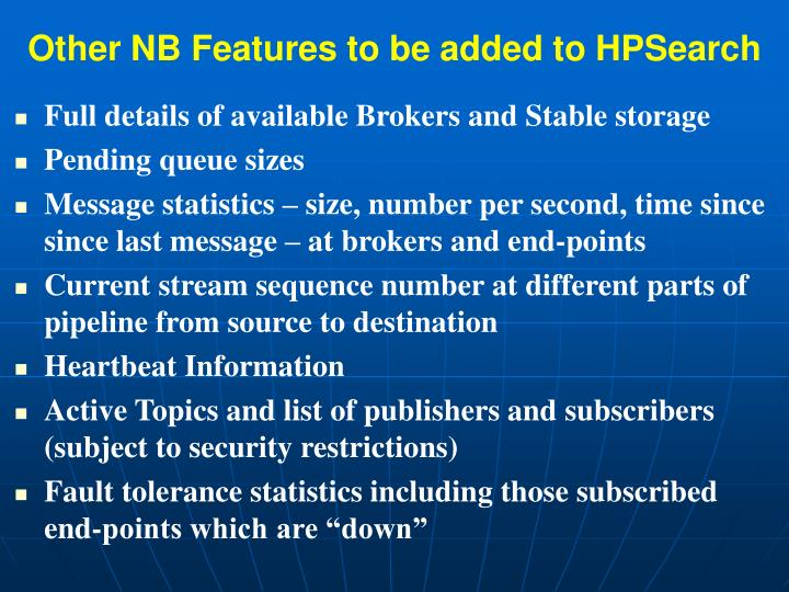 Other NB Features to be added to HPSearch