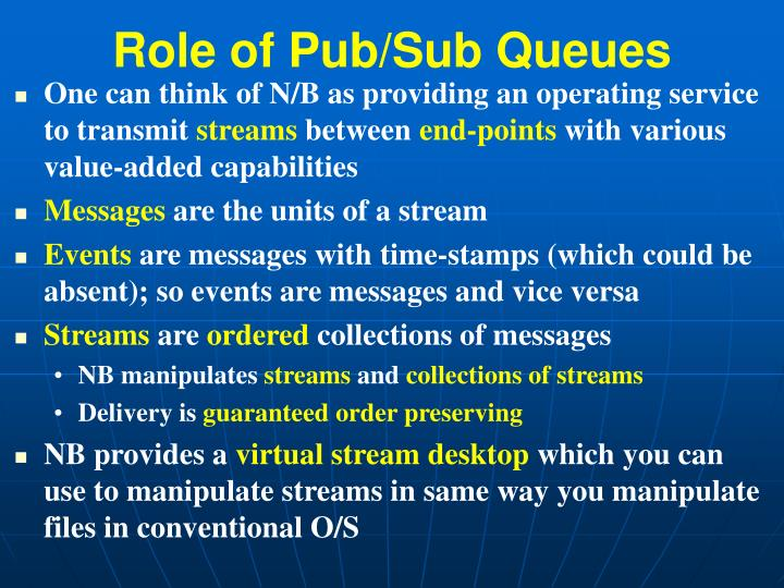 Role of Pub/Sub Queues