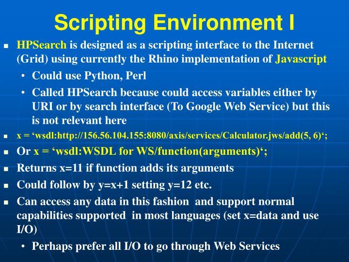 Scripting Environment I