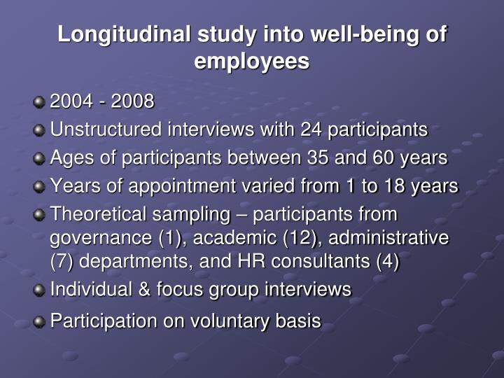 Longitudinal study into well-being of employees