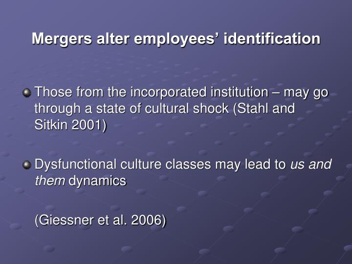 Mergers alter employees' identification
