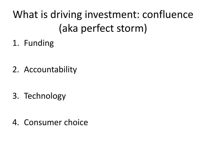 What is driving investment: confluence (aka perfect storm)