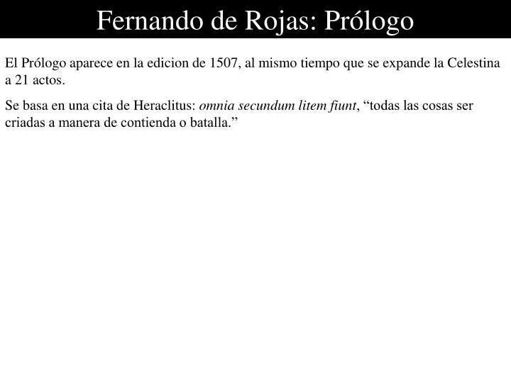 Fernando de Rojas: Prólogo