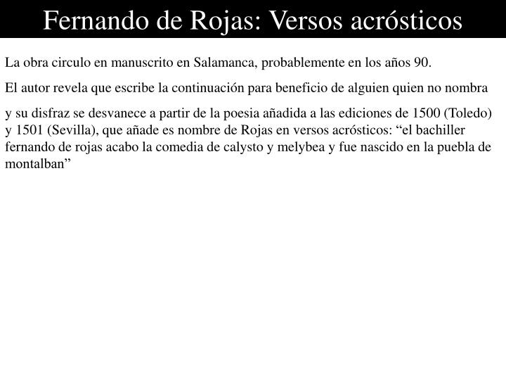 Fernando de Rojas: Versos acrósticos