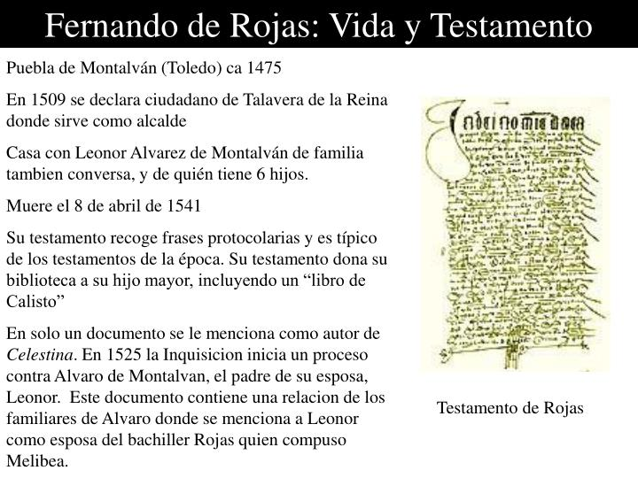 Fernando de Rojas: Vida y Testamento