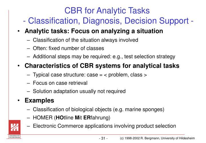 CBR for Analytic Tasks