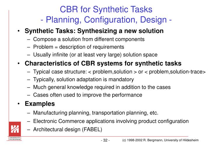 CBR for Synthetic Tasks