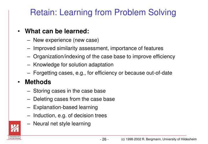Retain: Learning from Problem Solving