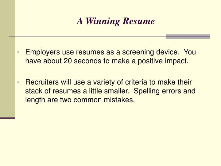 A Winning Resume