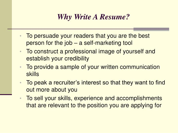 Why Write A Resume?